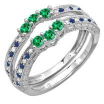 Dazzlingrock Collection 14K Gold Round Cut Emerald, Blue Sapphire & Diamond Ladies Wedding Enhancer Double Ring