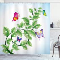 "Ambesonne Nature Shower Curtain, Floral Theme Branch with Leaves Butterflies and Drops of Water Pattern, Cloth Fabric Bathroom Decor Set with Hooks, 70"" Long, Green White"