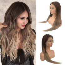 Ombre Human Hair Lace Front Wigs for Black/White Women Real Remy Hair Lace Frontal Wig Pre Plucked Bleached Knots Glueless 13x6 Lace Free Part 150% Density Straight Medium Brown to Ash Brown 14 Inch