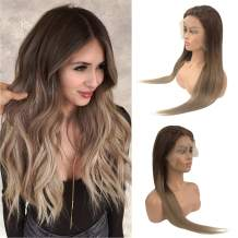 Real Human Hair Lace Front Wigs for Women Ombre 13x6 Lace Frontal Remy Hair Wig Pre Plucked Bleached Knots with Baby Hair Glueless 150% Density Full Head Free Part Medium Brown to Ash Brown 22 Inch