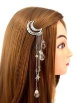 QTMY Moon Rhinestone Tassel with Crystal Beads Charms Hair Clip Pin Hair Chain Jewelry Hair Accessories (Silver Moon Tassel)