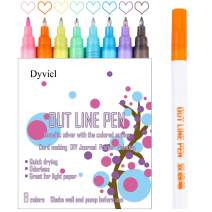 Double Line Pen Outline Pen Self Outline Metallic Markers - 0.7 mm Extra Fine Point Metallic Outline Markers for Scrapbooking, Card Making, Poster Drawing, Painting, Photo Signature, 8 Colors