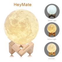 "HeyMate 3D Printing Lunar Lamp Touch Control Night Light as Kids Women Girls Gift, 4.7"" Rechargeable Moon Lamp with Wooden Holder, Warm Cool White Dimmable Touch Control"