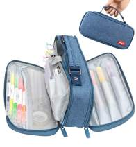 Pencil Case Pen Bag Holder Pouch Large Handle Big Capacity Desk Organizer Storage Marker Box Stationary Makeup Cosmetic Double Zippers for School Office Students Teen (blue)