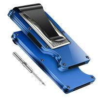 Minimalist Carbon Fibre Slim Wallet, Slim Wallet & RFID Blocking Front Pocket Wallet,Minimalist Wallet for Men and Women(2018 New Version) (Blue)