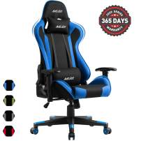 Muzii PC Gaming Chair for Pro,4-Color Choice Breathable SOFTKNIT Fabric Racing Style Ergonomic Adjustable Computer Chair for Office or Game with Headrest and Lumbar Pillow for Adults and Teens (Blue)
