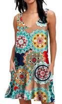 AUSELILY Women Summer Casual T Shirt Dresses Beach Cover up Plain Pleated Tank Dress