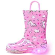 HugRain Light Up Rain Boots for Little Kids