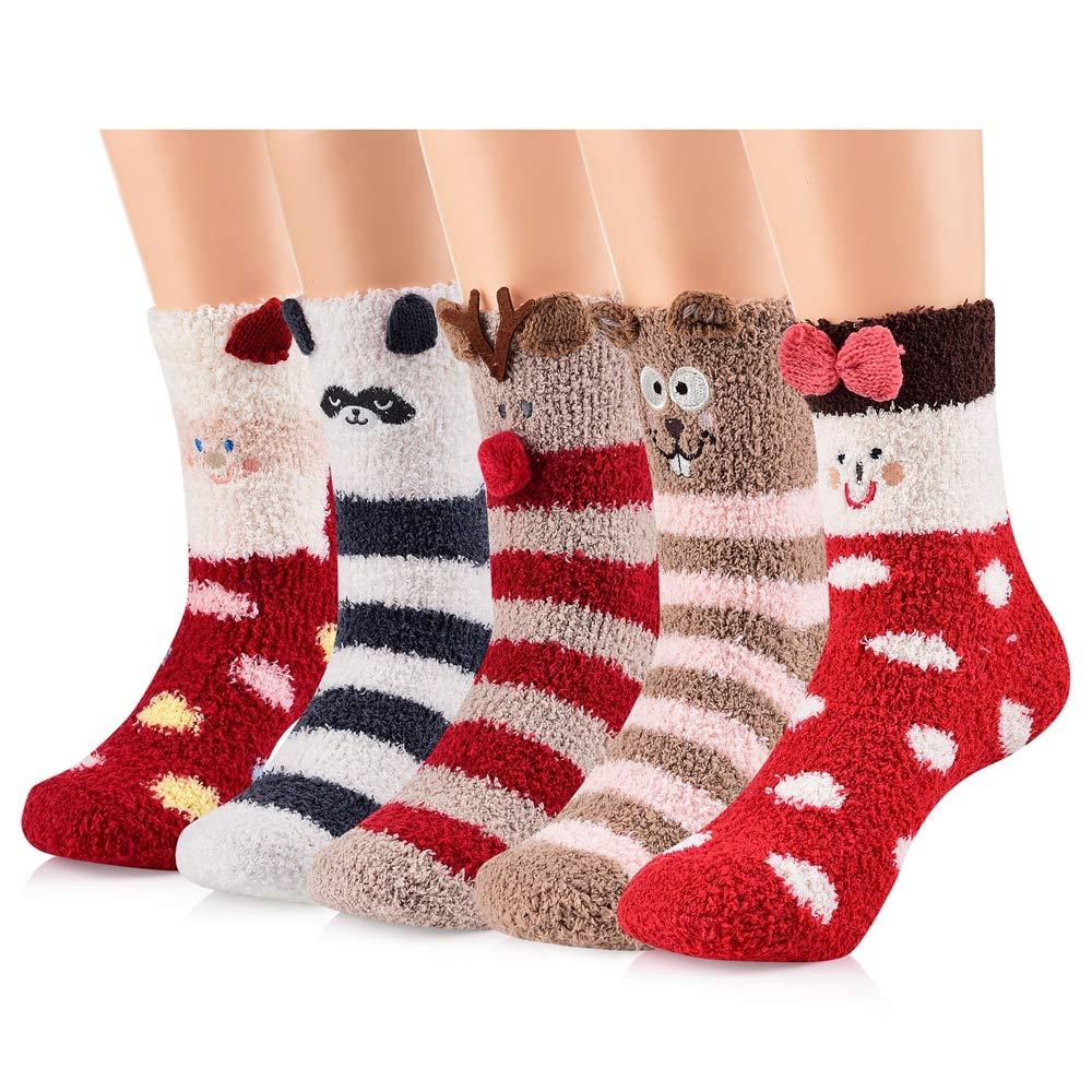 Womens Girls Winter Christmas Fuzzy Socks - Soft Comfy Warm Cute Cozy Fluffy Slipper Socks 5 Pairs