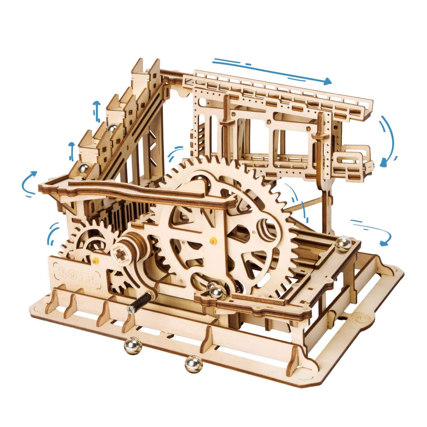Rowood 3D Wooden Marble Run Puzzle Craft Toy, Gift for Adults & Teen Boys Girls, Age 14+, DIY Model Building Kits - Cog Coaster