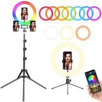 """12"""" Ring Light with Stand,FOSITAN 【Upgraded】 RGB LED Ring Light with 3 Phone Holders,APP Control Light, Bluetooth Control,2600-20000K, 0%-100% Stepless Dimmable, for Makeup/TikTok/YouTube/Facebook"""