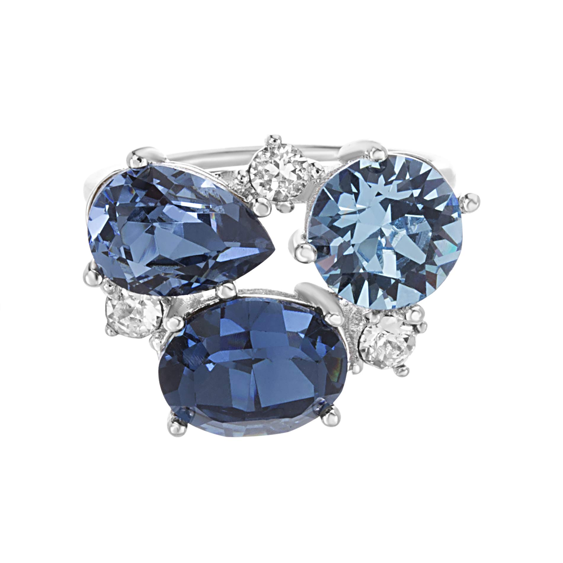 Devin Rose Cluster Style Ring for Women in Rhodium Plated Brass with Swarovski Crystals (Color: Aquamarine, Montana, Blue Denim)