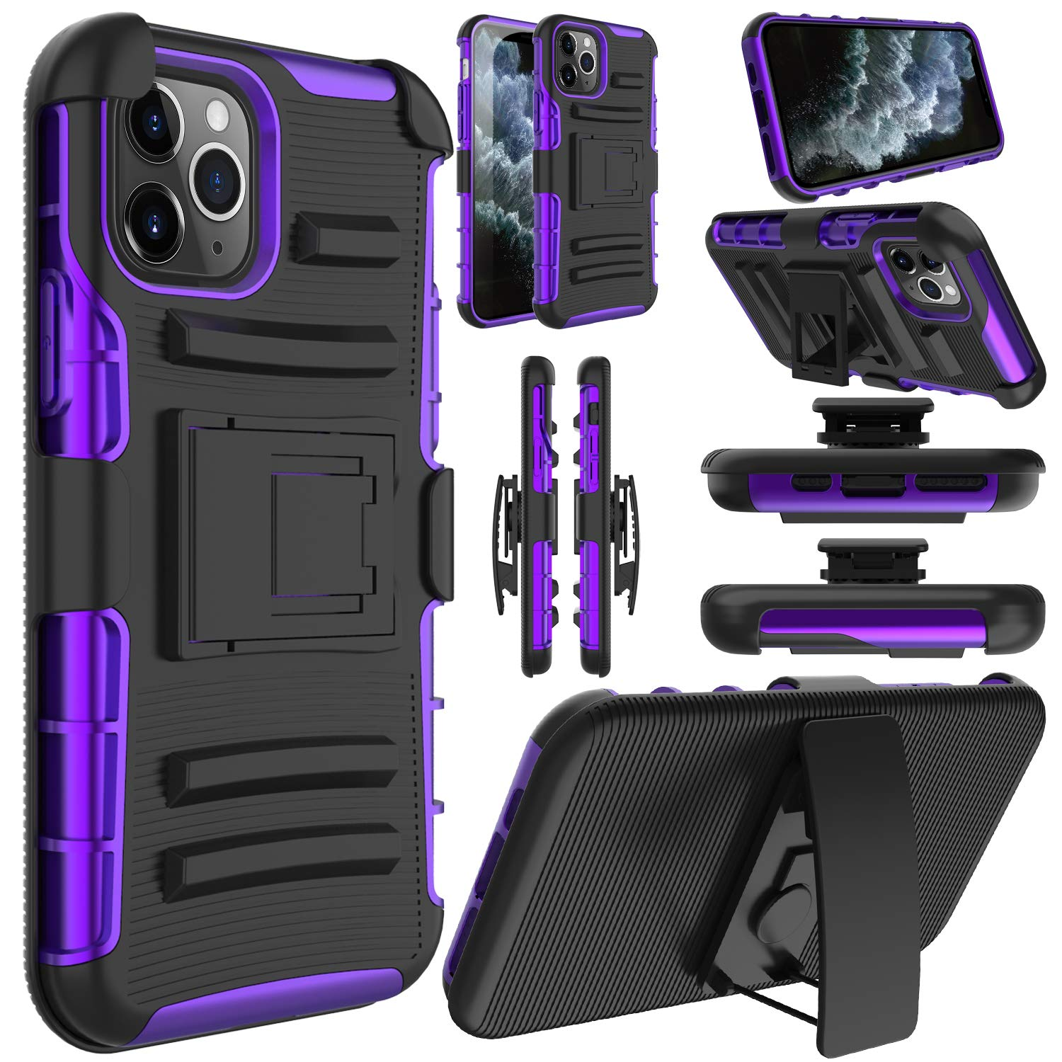 Elegant Choise Compatible iPhone 11 Pro 5.8 inch Case, Hybrid Shockproof Rugged Kickstand Holster Swivel Belt Clip Heavy Duty Full Body Rubber Bumper Armor Defender Protective Cover(Purple)