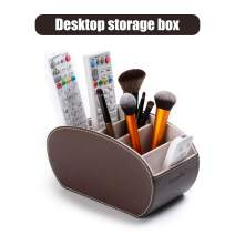 Tv Remote Control Holders Organizer Box with 5 Compartment PU Leather Multi-Functional Office Organization and Storage Caddy Store Tv Remote Holders,Brush,Pencil,Glasses and Media Player (brown1)