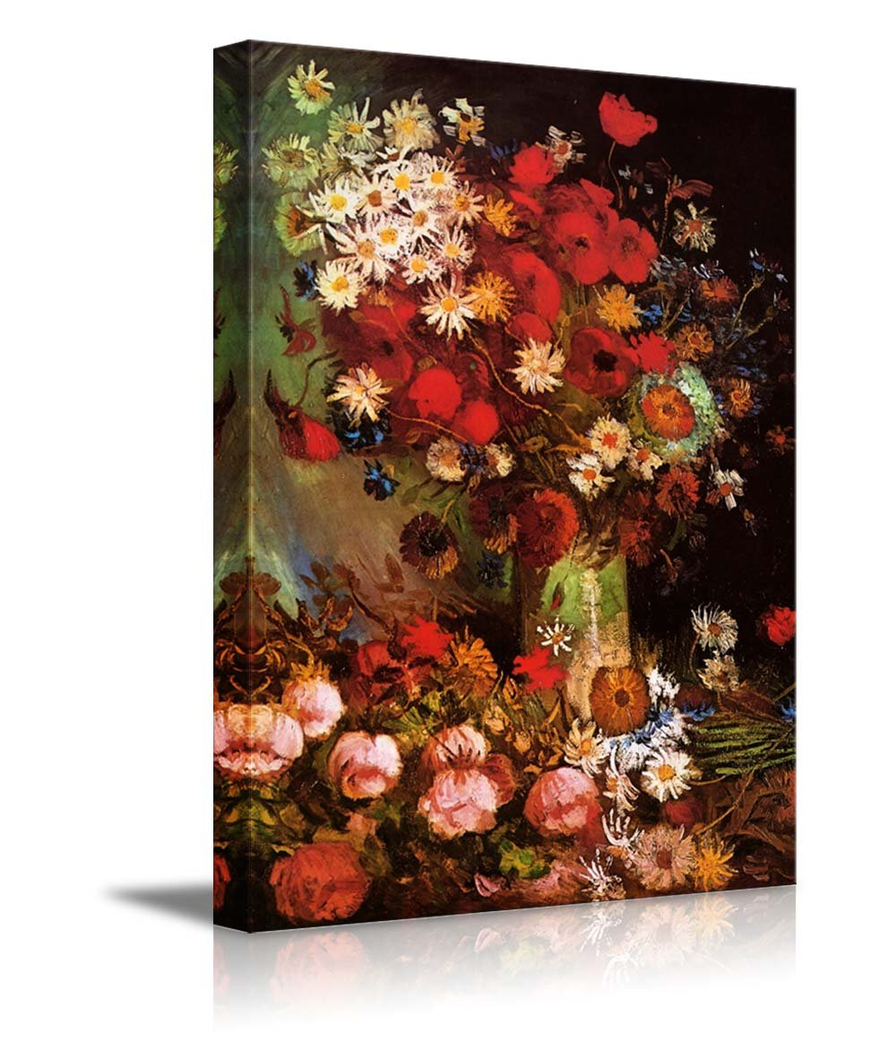 """wall26 Poppy Flowers by Vincent Van Gogh - Oil Painting Reproduction on Canvas Prints Wall Art, Ready to Hang - 24"""" x 36"""""""