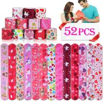 Lumiparty 52PCS Valentine's Day Slap Bracelets Party Favors Pack (13 Designs) with Colorful Hearts Bear Cupid and Rose Print Design Retro Slap Bands for Kids Valentines Gift Classroom Exchange.