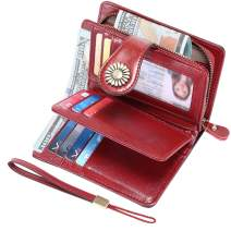 HUANLANG Womens Medium Leather Wallet RFID Blocking Ladies Wallets for Women with Wrist Strap Womens Wallet with Zipper