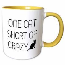 3dRose mug_234031_8 One Cat Short Of Crazy Mug, 11 oz