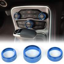 Car Air Condition Knob Ring Shape Car Conditioning Switch Button Cover Aluminum Decorative Knobs for Dodge Challenger Charger 2015-2019(Blue 3Pcs)
