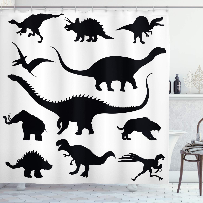 "Ambesonne Dinosaur Shower Curtain, Various Black Dino Silhouettes Jurassic Evolution Extinction Predator Animals, Cloth Fabric Bathroom Decor Set with Hooks, 84"" Long Extra, Black Print"