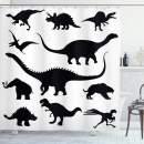 "Ambesonne Dinosaur Shower Curtain, Various Black Dino Silhouettes Jurassic Evolution Extinction Predator Animals, Cloth Fabric Bathroom Decor Set with Hooks, 70"" Long, Black Print"