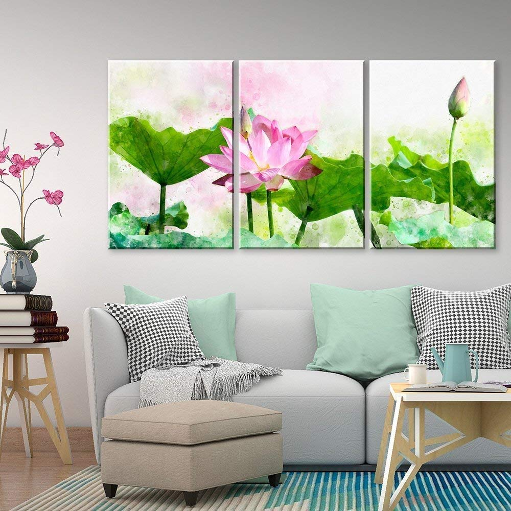 """wall26 - 3 Panel Canvas Wall Art - Watercolor Style Green Lotus Leaf and Pink Lotus Flower - Giclee Print Gallery Wrap Modern Home Decor Ready to Hang - 24""""x36"""" x 3 Panels"""