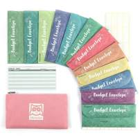 Hommie Cash Envelopes for Budget System- Money Envelopes for Budgeting and Saving with 1 Pink Carry Pouch, 12 Pack of Tear and Water Resistant Assorted Colors & 15 Expense Tracking Budget Sheets