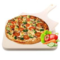 Merrynice Pizza Stone, Pizza Grilling Baking Cooking Stones with Wooden Pizza Peel for Grill Oven BBQ Non Stick Safe Shock Resistant Durable 15x12 Inch Rectangular.