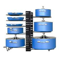 CEVENT Pot Racks 3 DIY Methods Pots and Pans Organizer Under Cabinet,8 Tiered Pot Lid Holder, Adjustable Dividers Pot Organizer Rack for Cabinet,Kitchen Organizer and Storage(Black)