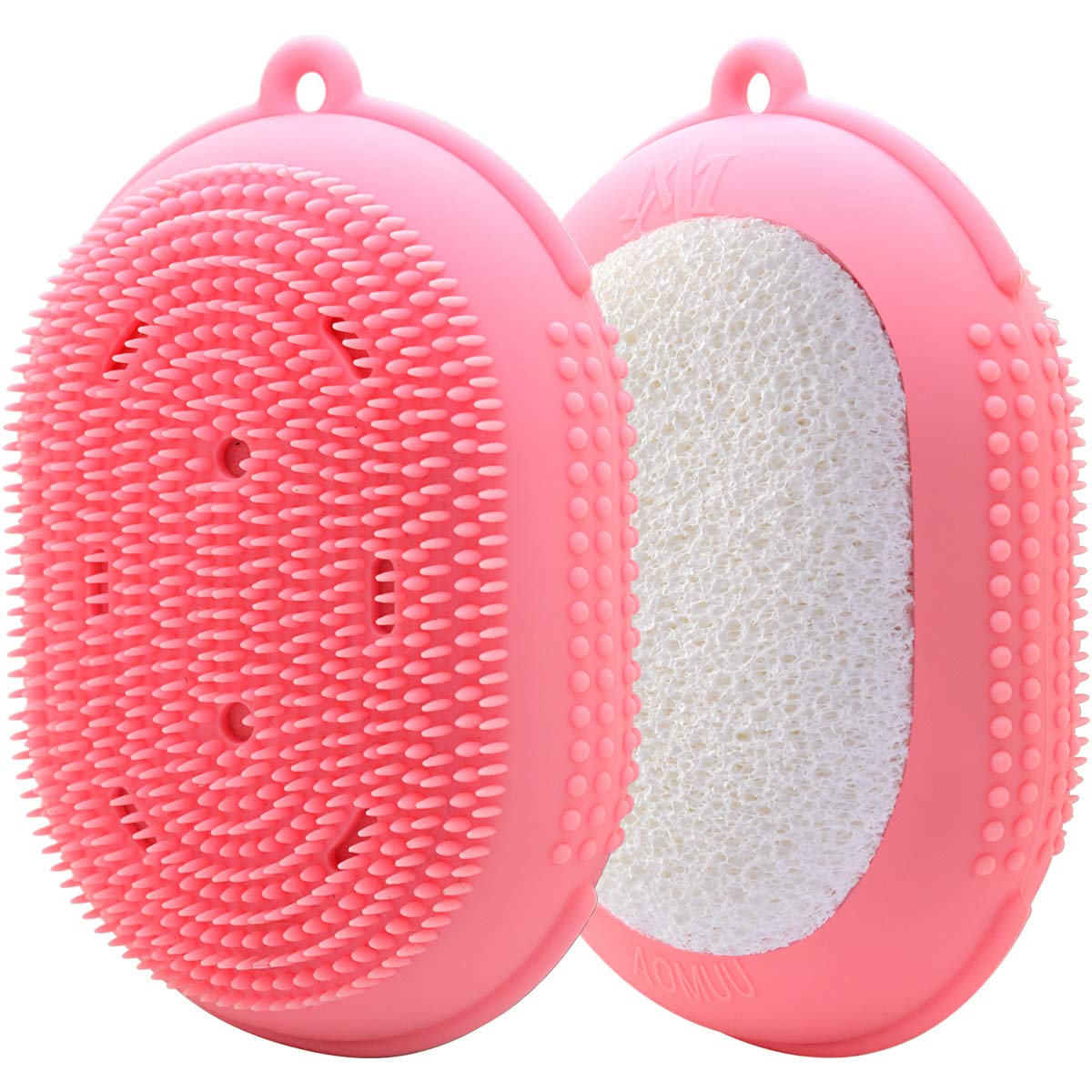 Silicone Body Scrubber Bath Sponge - AOMUU 2 in 1 Exfoliating Body Brush Loofah Shower Sponge for Women Men kids