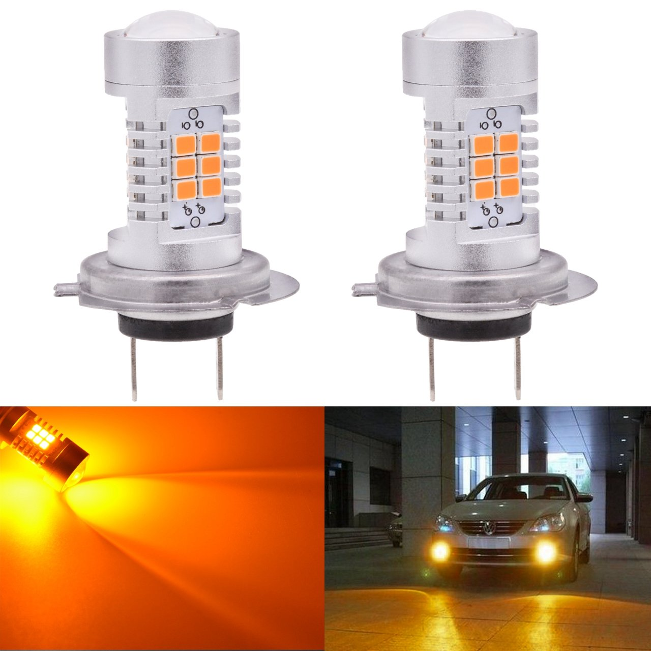 KATUR H7 LED Fog Light Bulbs Max 80W High Power Super Bright 2000 Lumens 3000K Amber with Projector for Driving Daytime Running Lights DRL or Fog Lights,12V -24V (Pack of 2)