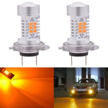 KATUR H7 LED Fog Light Bulbs Max 80W High Power Super Bright 2000 Lumens 3000K Amber with Projector for Driving Daytime Running Lights DRL or Fog Lights,12V -24V (Pack of 2)