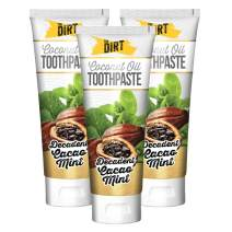 The Dirt Cacao Mint Coconut Oil Toothpaste | All Natural with Essential Oils, MCT Oil, Fluoride Free | Cacao Mint 6 Week Supply (3 pack)