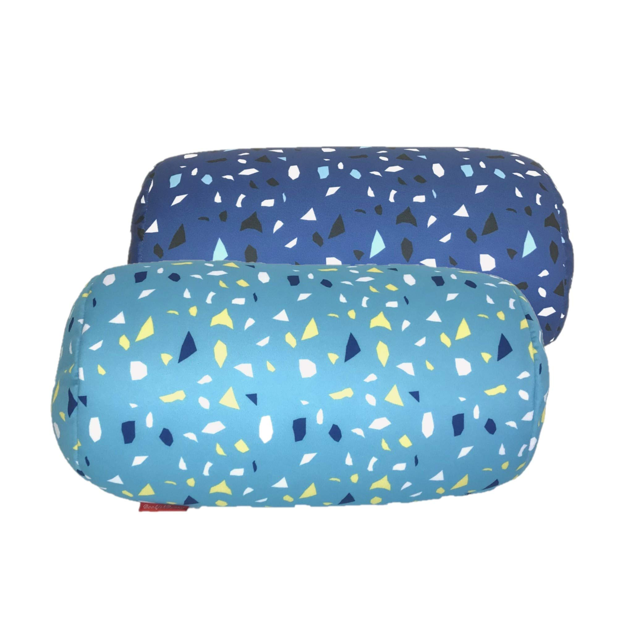 Bookishbunny 2pk Micro Bead Bolster Tube Pillow Cushion for Car Sofa Bed Room Decoration, Back Neck Head Body Support - Squishy and Cool Fabric, Odorless, Hypoallergenic (ConfettiLight/Blue)