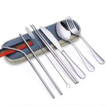 ArderLive Portable Cutlery, Stainless Steel Travel Camping Flatware Set, 8-piece Cutlery Set with Straws & Strwas Cleaning Brush For Tavel,Camping,Hiking (Silver)