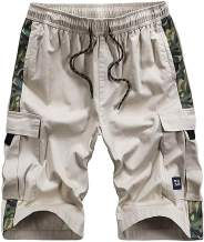 CZZSTANCE Mens Cargo Shorts Elastic Waist Relaxed Fit Multi-Pockets Outdoor Casual Work Shorts Cotton