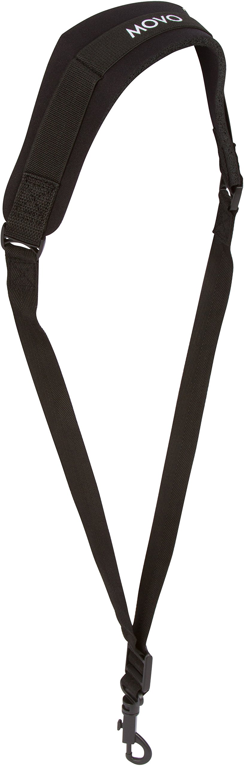 Movo MS-20L Neoprene Instrument Neck Strap for Saxophones, Horns, Bass Clarinets, Basoons, Oboes and More (Black - Long Length)
