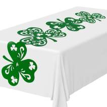 Whaline Shamrock Table Runner, Felt Green Irish Table Top Decoration Lucky Clover Table Scarf for St. Patrick's Day Party and Spring Home Dinner Decoration