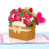 Paper Love Flower Basket Pop Up Card, Handmade 3D Popup Greeting Cards, for Valentines Day, Mothers Day, Wedding, Anniversary, Birthday, Love, Thank You, Get Well, All Occasions