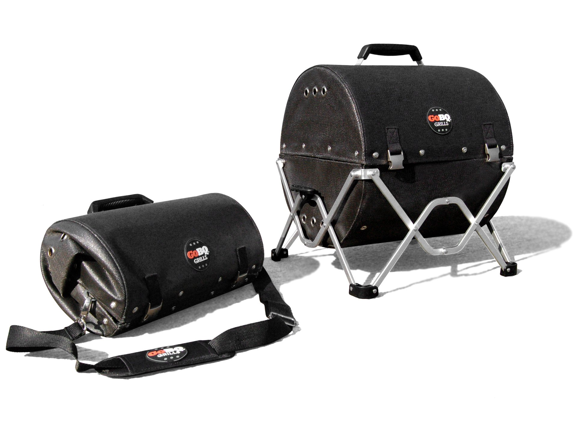 GoBQ Portable Charcoal Grill – Fits in a Backpack – Perfect for Camping, Tailgating, Travel, Hiking, Boating, Fishing, Hunting, Biking, The Beach, RVs, College Students, Urbanites and Gifting
