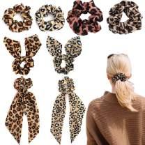 VELSCRUN 8 Pcs Leopard Print Hair Scrunchies Long Silk Hair Scarves Polka Dot Snake Skin Ribbon Elastic Hair Bands Scrunchies for Hair Ponytail Holders for Women