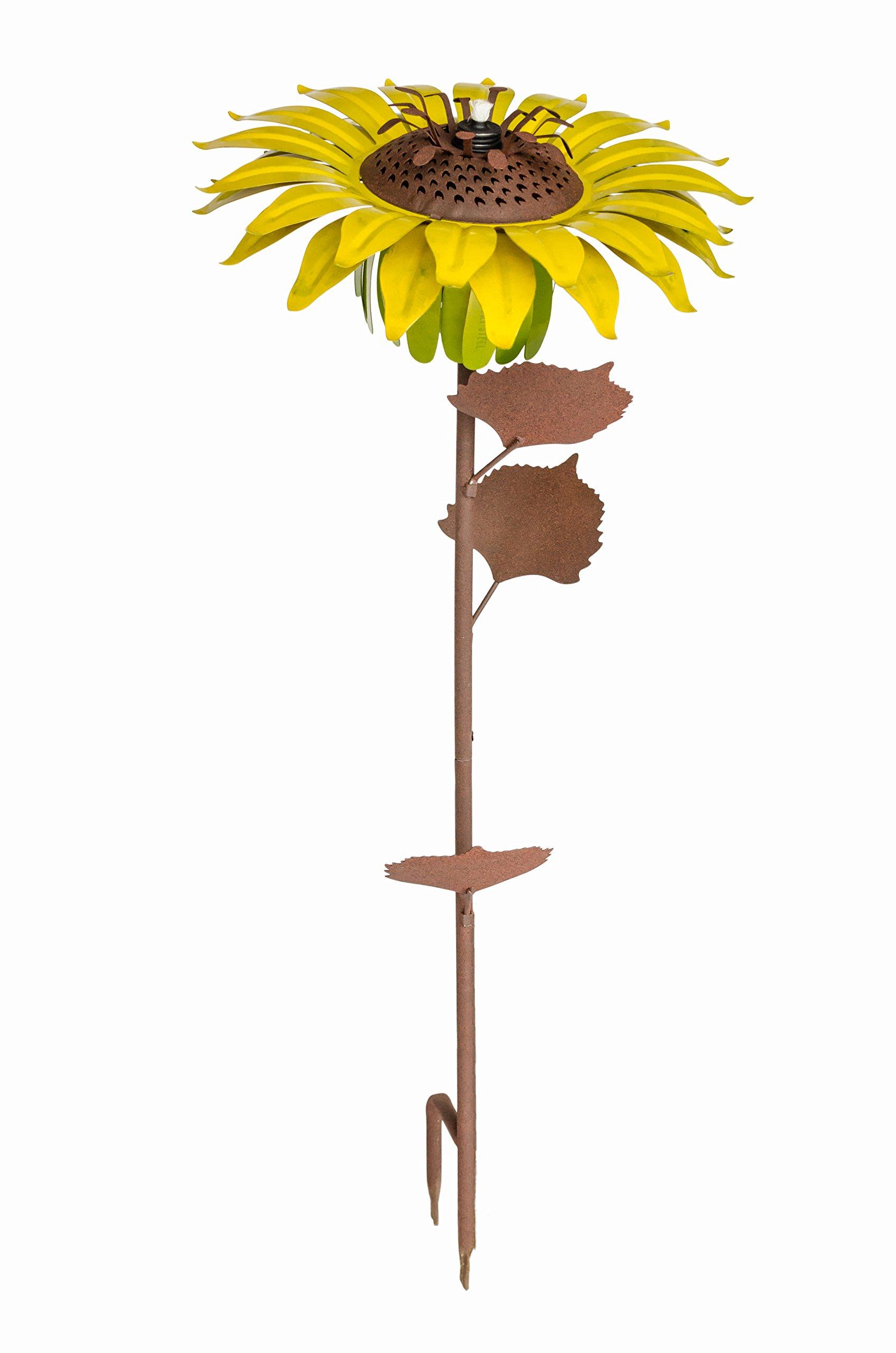 "Desert Steel Flower Torch - (Yellow Sunflower, 32"" H x14"" W) - Metal Art Citronella Garden Torch & Pathway Light w/ Refillable Lamp Oil Canister"