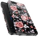 ZTE Blade Z Max Case, ZTE Blade Zmax Pro 2 Case, ZTE Sequoia Case, Miss Arts Slim Anti-Scratch Kit with [Drop Protection] Dual Layer Protective Cover Case for ZTE Z982 -Rose Gold Flower/Black