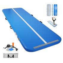 Carkoci Inflatable Gymnastics Air Track Tumbling Mat 4 Inches Thickness Airtrack Mats for Home Use/Training/Yoga with Electrical Pump, Light and Portable, Suitable for Home and Outdoor