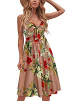 VOTEPRETTY Womens Summer Sundress V Neck Tie Front Spaghetti Strap Dresses with Pockets