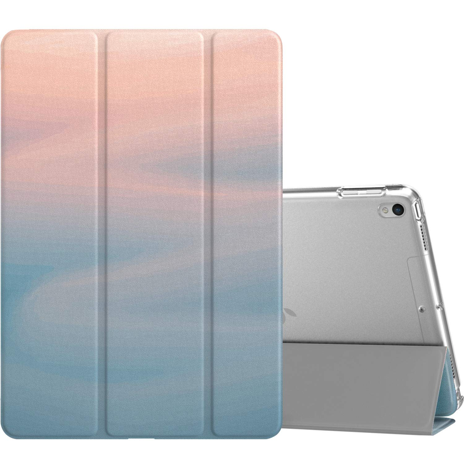 """MoKo Case Fit New iPad Air (3rd Generation) 10.5"""" 2019/iPad Pro 10.5 2017, Slim Lightweight Smart Shell Stand Cover with Translucent Frosted Back Protector, with Auto Wake/Sleep - Fresh Blue"""