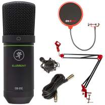 Mackie Element Series EM-91C Condenser Microphone with Deco Gear Boom Arm Bundle