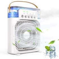 Portable Air Conditioner Fan,Quiet USB Desk Fan,Mini Evaporative Air Cooler with 3 Speeds Strong Wind, 3 Spray Modes,1/2/3 H Timer,60° Adjustment and 7 Colors LED Light for Office, Home, Dorm, Outdoor