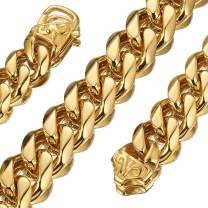 Jewelry Kingdom 1 Cuban Link Chain 18K Gold Necklace Bracelet for Men Women Stainless Chunky Thick Heavy Curb Link 15MM 8inches to 30inches