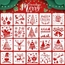 Koogel 20Psc Christmas Stencils Template,5inch Drawing Stencils Reusable Stencils for Painting Christmas Snowflakes Snowmen for Planner/Diary/Card/DIY Drawing Painting Craft Projects